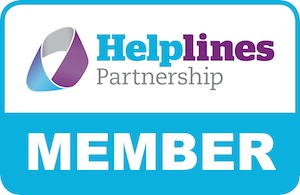 Helplines Partnership logo with blue, purple and white text