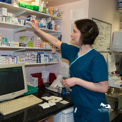 Kirsten in our in-house pharmacy.