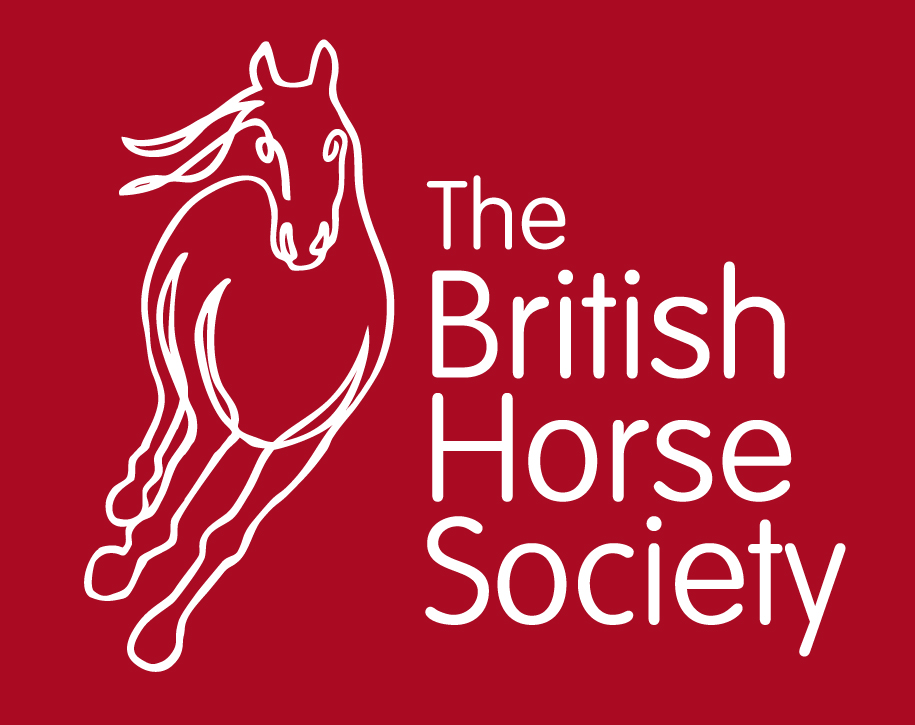 British Horse Society coloured logo. White outline of a horse with white text on a red background