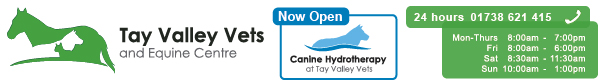 Tay Valley Vets email footer graphic showing logo, opening times and canine hydrotherapy logo